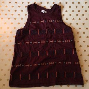Madewell tribal print sleeveless top in maroon